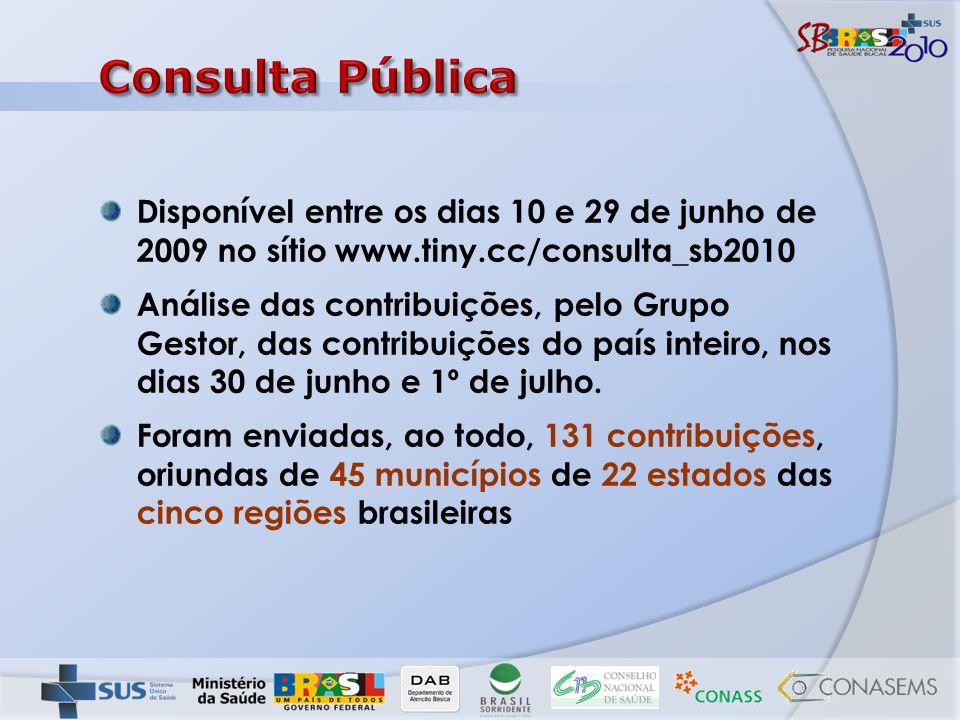 Disponível entre os dias 10 e 29 de junho de 2009 no sítio www.tiny.cc/consulta_sb2010 Análise das contribuições, pelo Grupo Gestor, das contribuições