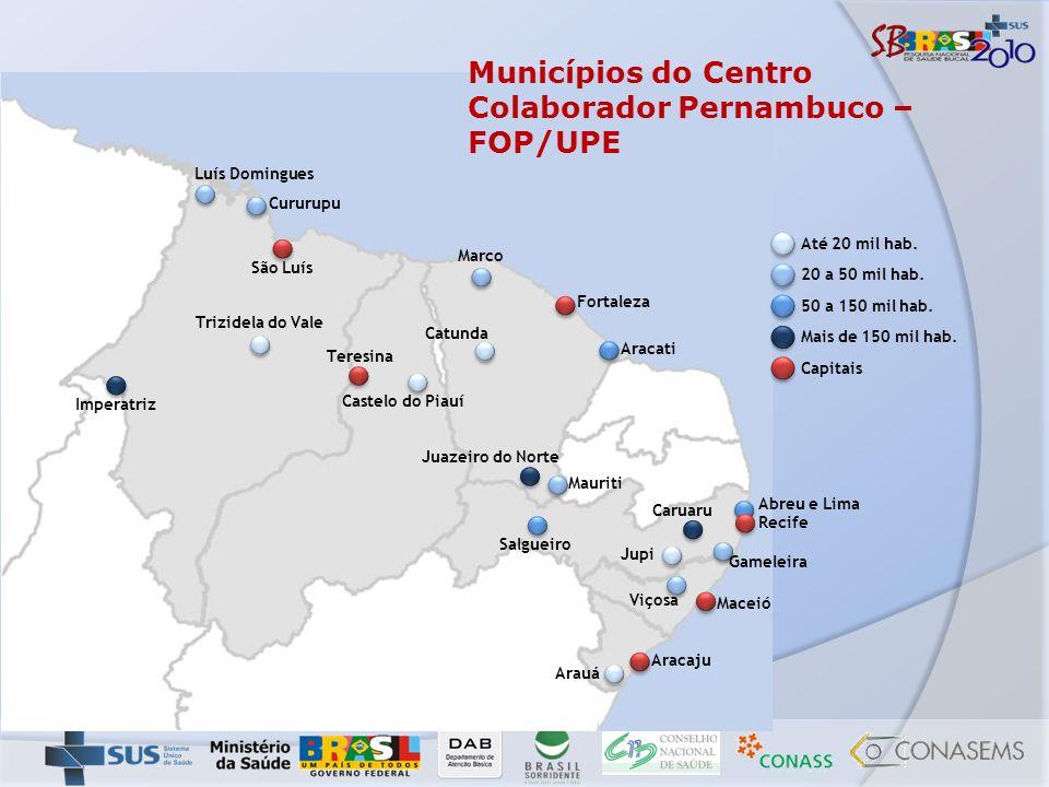 Municípios do Centro Colaborador Pernambuco – FOP/UPE Recife São Luís Imperatriz Cururupu Teresina Castelo do Piauí Marco Fortaleza Aracati Catunda Ma