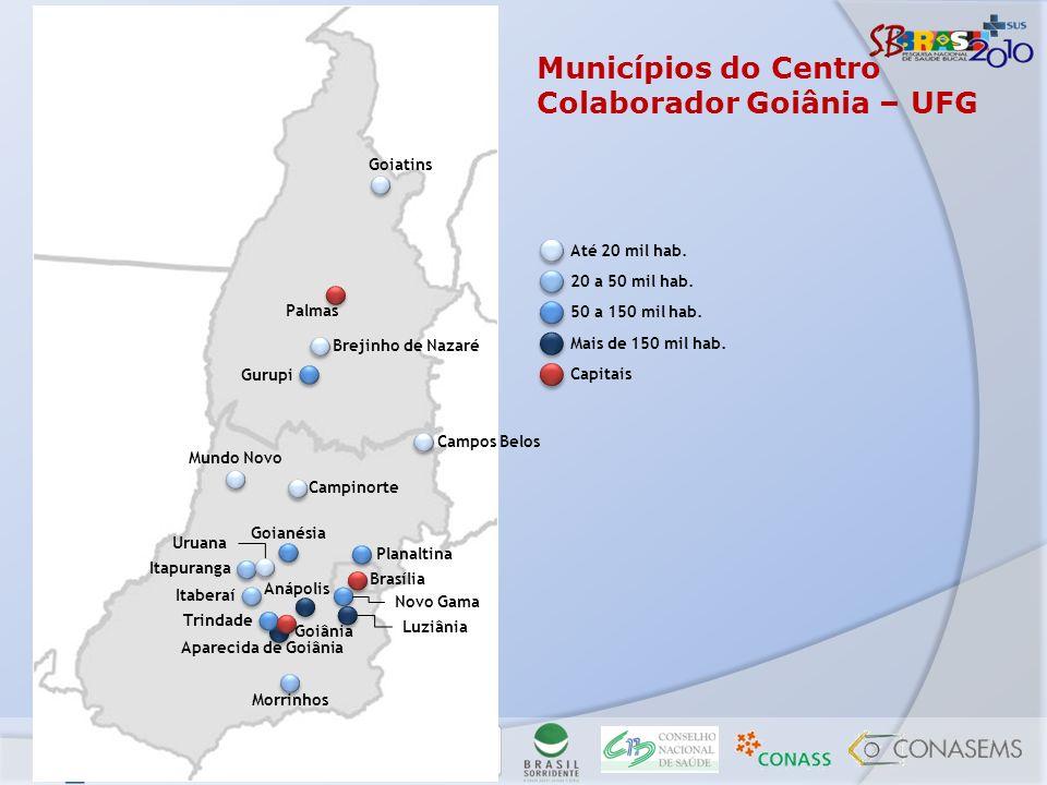 Municípios do Centro Colaborador Goiânia – UFG Goiatins Palmas Brejinho de Nazaré Mundo Novo Brasília Goiânia Aparecida de Goiânia Gurupi Campinorte P