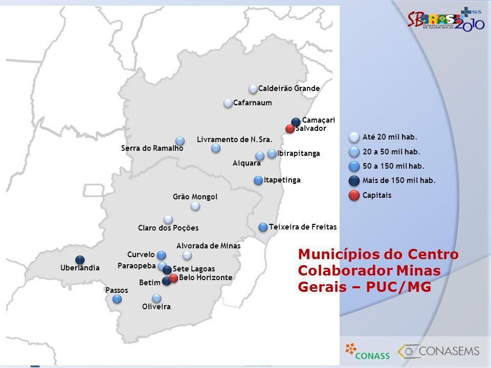 Municípios do Centro Colaborador Minas Gerais – PUC/MG Camaçari Salvador Uberlândia Belo Horizonte Betim Passos Oliveira Sete Lagoas Paraopeba Curvelo