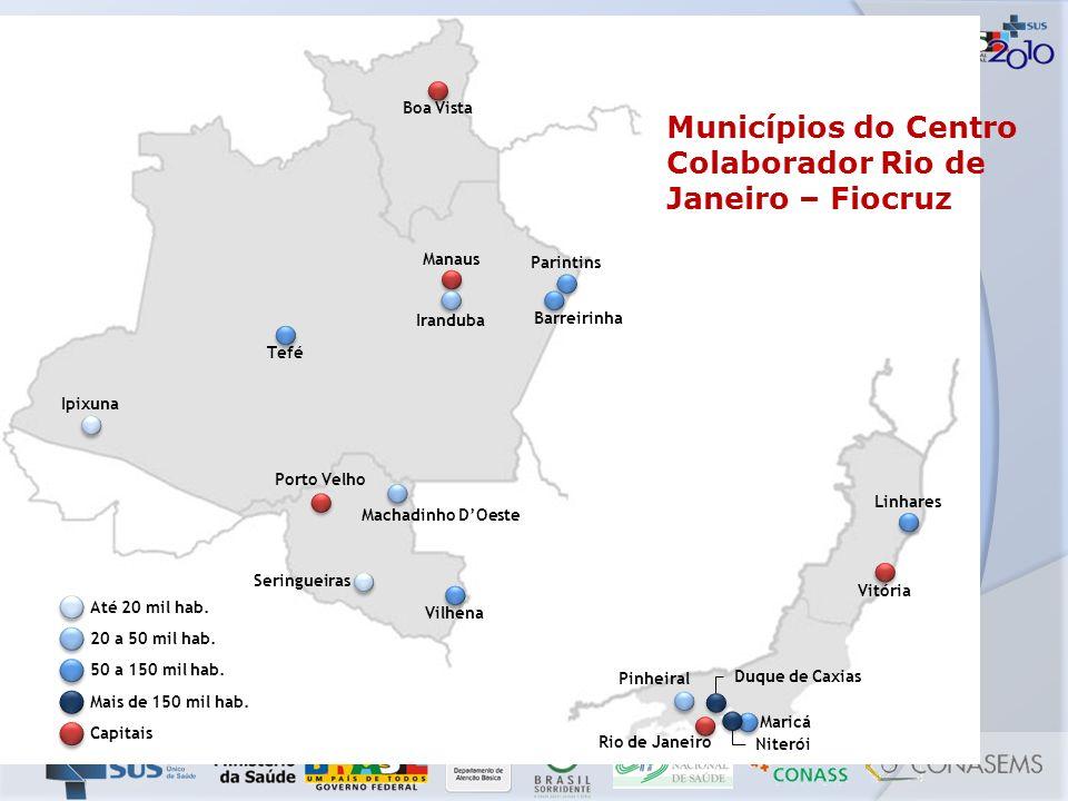 Municípios do Centro Colaborador Rio de Janeiro – Fiocruz Boa Vista Manaus Tefé Ipixuna Porto Velho Machadinho DOeste Vilhena Parintins Iranduba Barre
