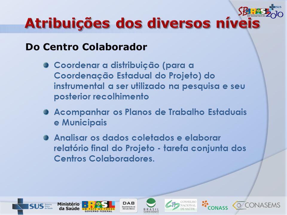 Coordenar a distribuição (para a Coordenação Estadual do Projeto) do instrumental a ser utilizado na pesquisa e seu posterior recolhimento Acompanhar