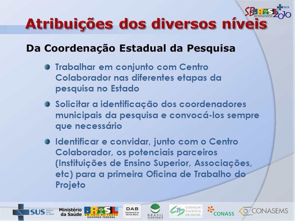 Trabalhar em conjunto com Centro Colaborador nas diferentes etapas da pesquisa no Estado Solicitar a identificação dos coordenadores municipais da pes