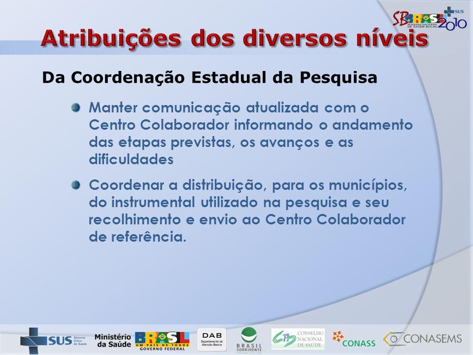 Manter comunicação atualizada com o Centro Colaborador informando o andamento das etapas previstas, os avanços e as dificuldades Coordenar a distribui