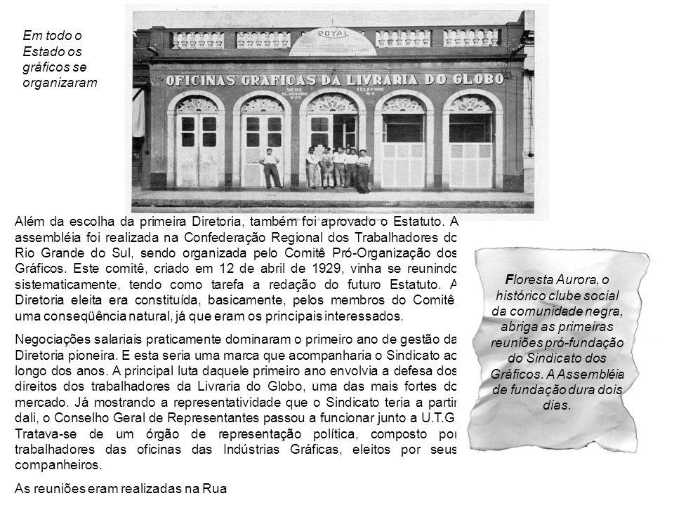 Em todo o Estado os gráficos se organizaram Além da escolha da primeira Diretoria, também foi aprovado o Estatuto. A assembléia foi realizada na Confe