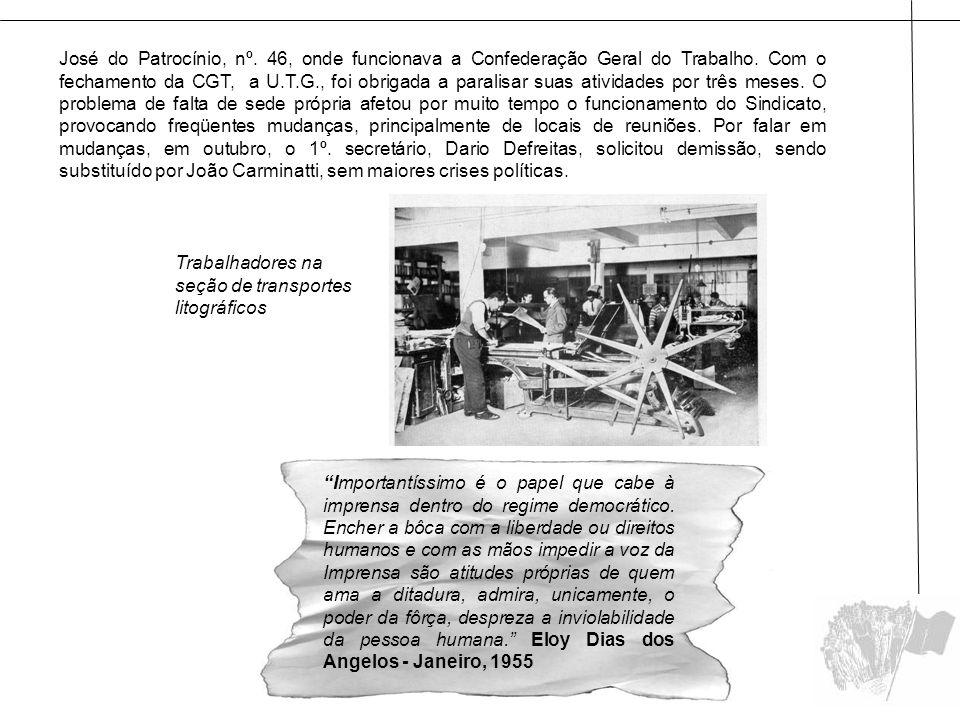 José do Patrocínio, nº. 46, onde funcionava a Confederação Geral do Trabalho. Com o fechamento da CGT, a U.T.G., foi obrigada a paralisar suas ativida