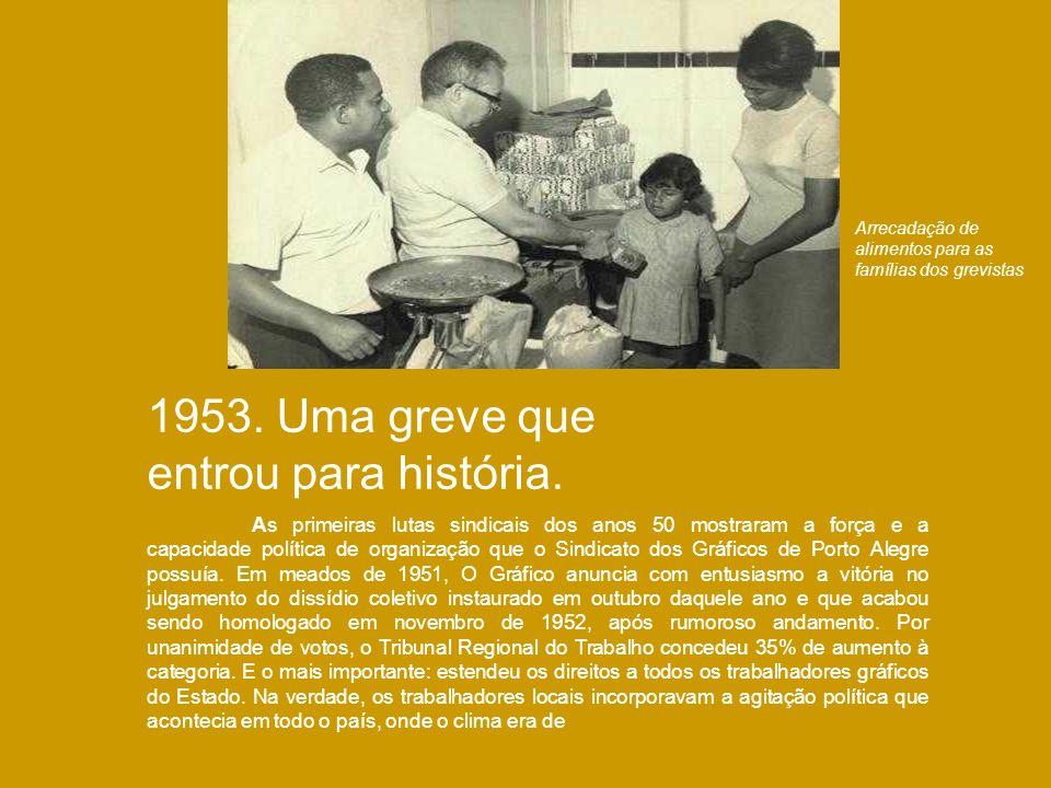 1953. Uma greve que entrou para história. As primeiras lutas sindicais dos anos 50 mostraram a força e a capacidade política de organização que o Sind