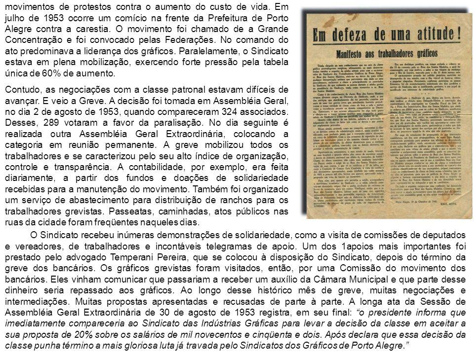 movimentos de protestos contra o aumento do custo de vida. Em julho de 1953 ocorre um comício na frente da Prefeitura de Porto Alegre contra a caresti