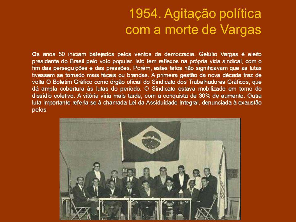 1954. Agitação política com a morte de Vargas Os anos 50 iniciam bafejados pelos ventos da democracia. Getúlio Vargas é eleito presidente do Brasil pe