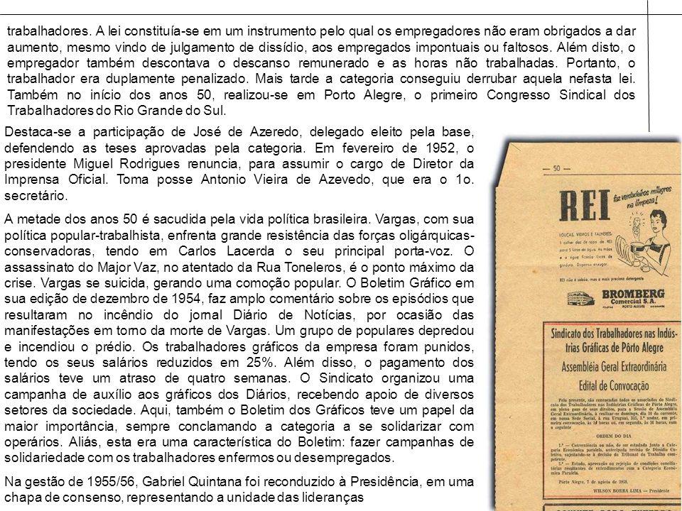 Destaca-se a participação de José de Azeredo, delegado eleito pela base, defendendo as teses aprovadas pela categoria. Em fevereiro de 1952, o preside