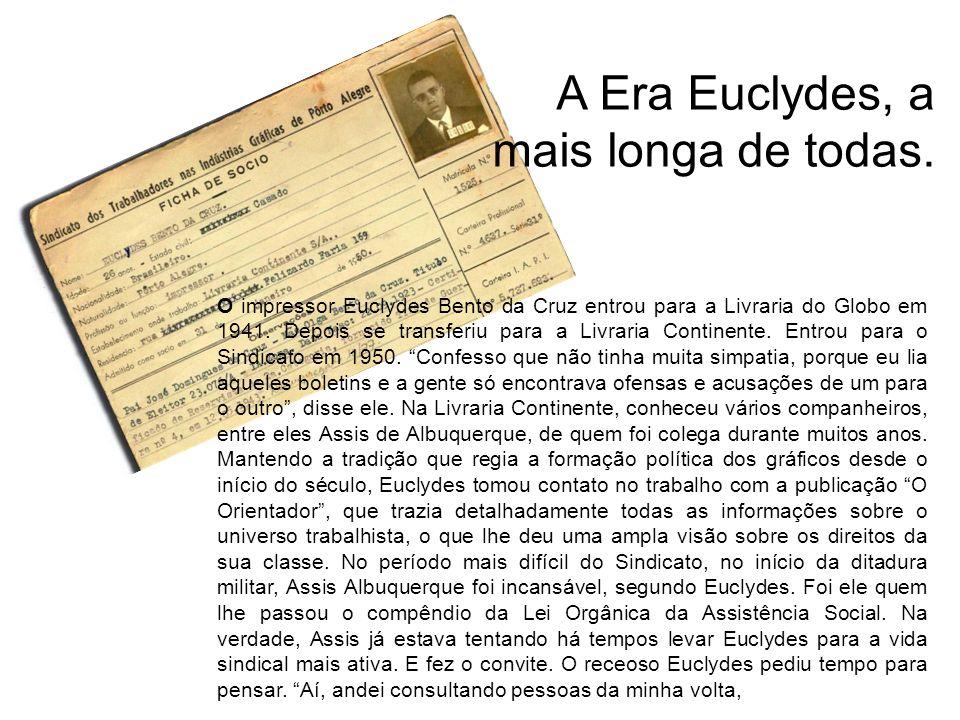 O impressor Euclydes Bento da Cruz entrou para a Livraria do Globo em 1941. Depois se transferiu para a Livraria Continente. Entrou para o Sindicato e