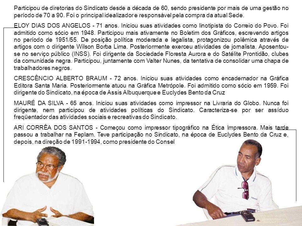 Participou de diretorias do Sindicato desde a década de 60, sendo presidente por mais de uma gestão no período de 70 a 90. Foi o principal idealizador