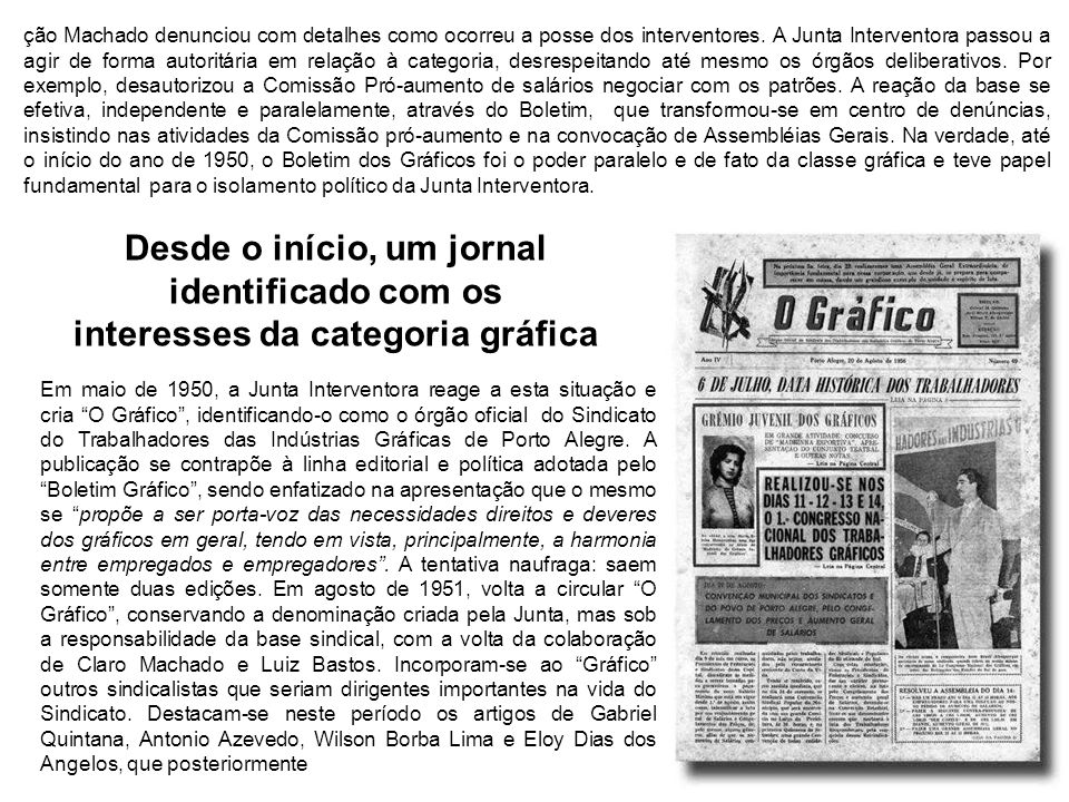 Em maio de 1950, a Junta Interventora reage a esta situação e cria O Gráfico, identificando-o como o órgão oficial do Sindicato do Trabalhadores das I
