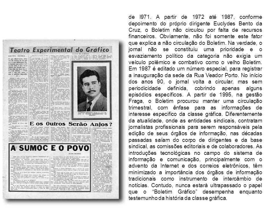 de l971. A partir de 1972 até 1987, conforme depoimento do próprio dirigente Euclydes Bento da Cruz, o Boletim não circulou por falta de recursos fina