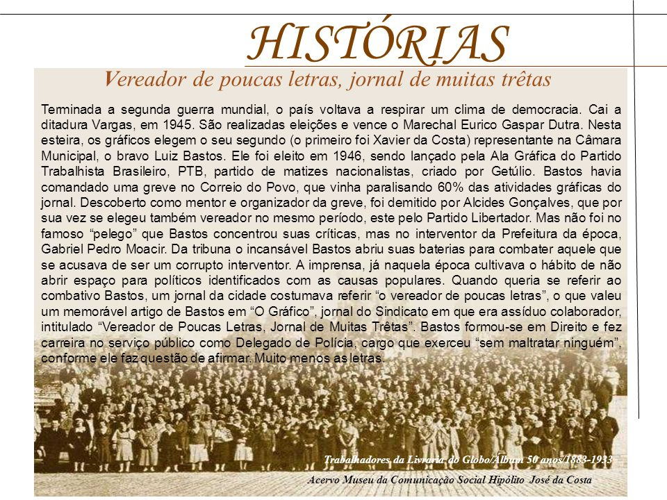 Trabalhadores da Livraria do Globo/Álbum 50 anos/1883-1933 Acervo Museu da Comunicação Social Hipólito José da Costa Terminada a segunda guerra mundia