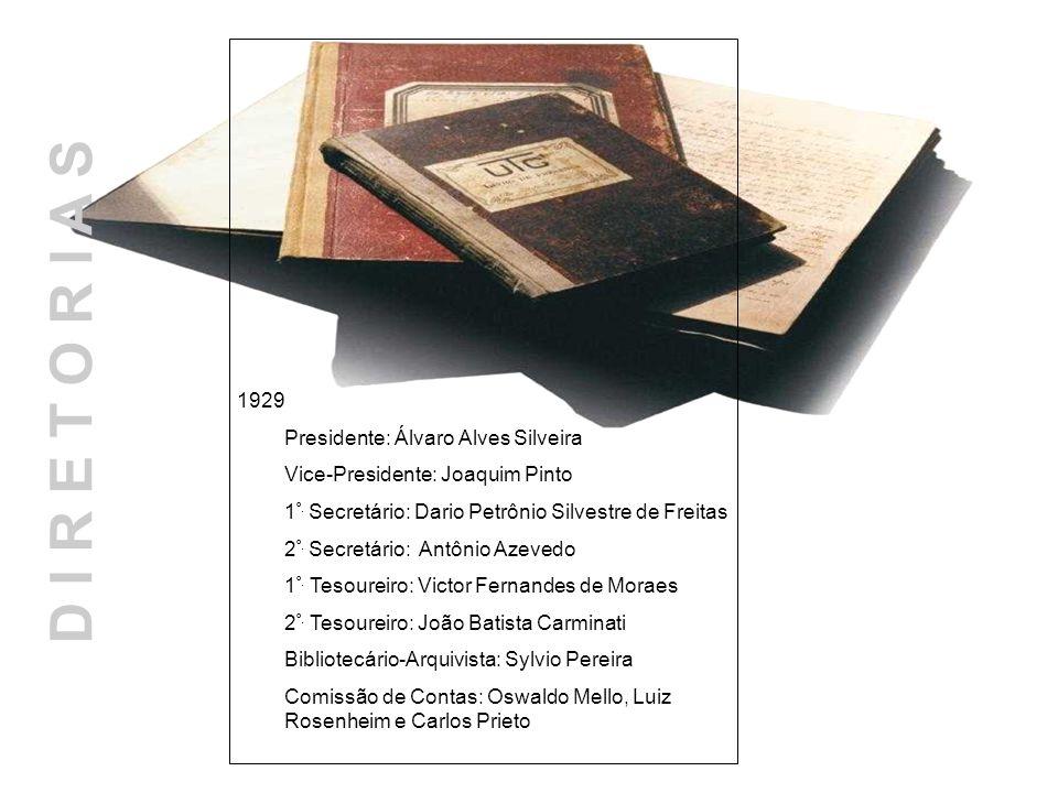 D I R E T O R I A S 1929 Presidente: Álvaro Alves Silveira Vice-Presidente: Joaquim Pinto 1 º. Secretário: Dario Petrônio Silvestre de Freitas 2 º. Se