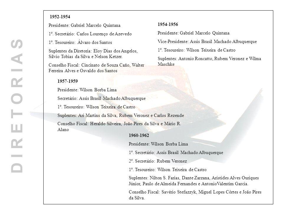 D I R E T O R I A S 1960-1962 Presidente: Wilson Borba Lima 1º. Secretário: Assis Brasil Machado Albuquerque 2º. Secretário: Rubem Veronez 1º. Tesoure