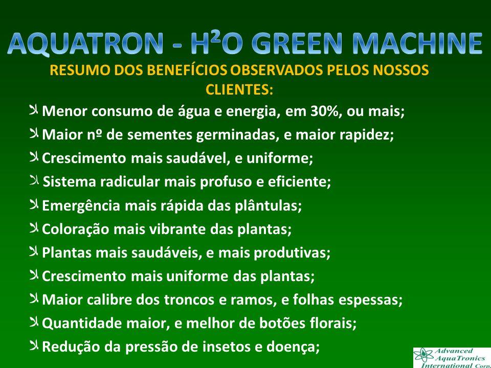 Menor consumo de água e energia, em 30%, ou mais; Maior nº de sementes germinadas, e maior rapidez; Crescimento mais saudável, e uniforme; Sistema rad