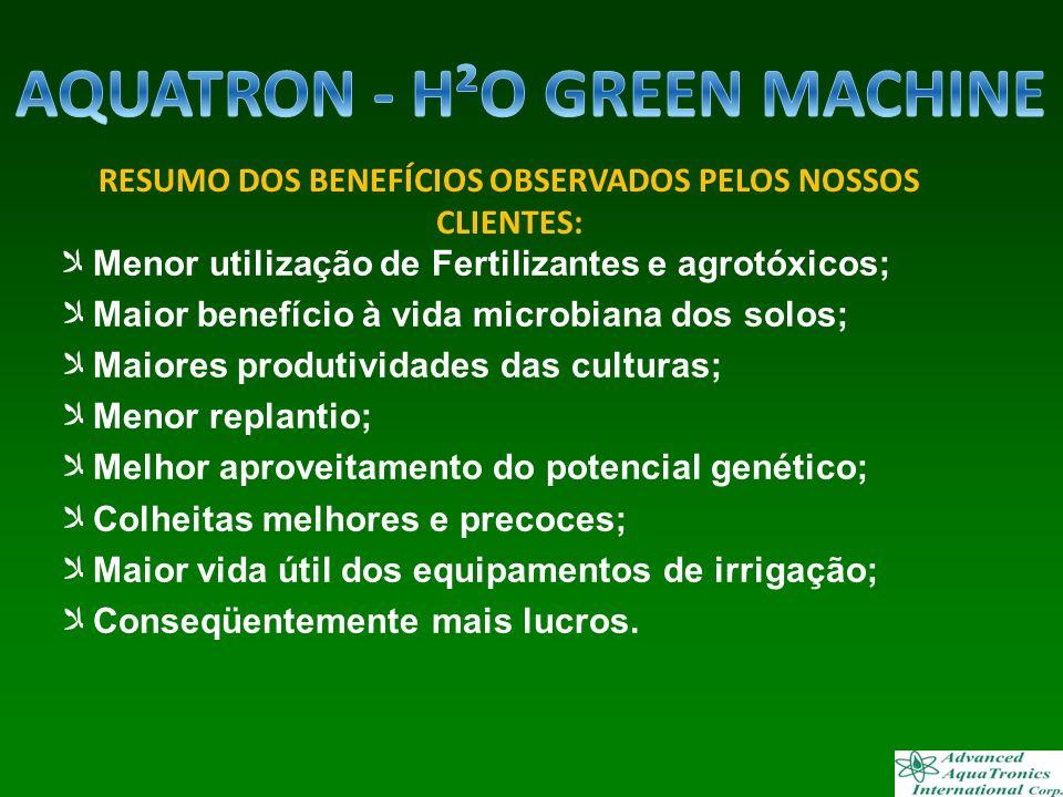 Menor utilização de Fertilizantes e agrotóxicos; Maior benefício à vida microbiana dos solos; Maiores produtividades das culturas; Menor replantio; Me