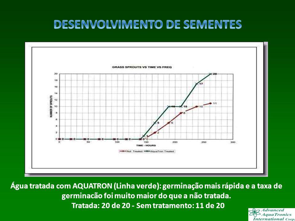 Água tratada com AQUATRON (Linha verde): germinação mais rápida e a taxa de germinacão foi muito maior do que a não tratada. Tratada: 20 de 20 - Sem t