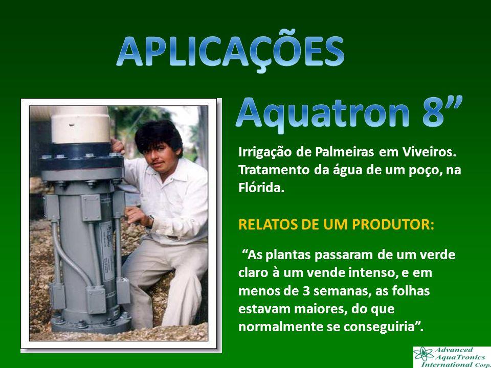 Irrigação de Palmeiras em Viveiros. Tratamento da água de um poço, na Flórida. RELATOS DE UM PRODUTOR: As plantas passaram de um verde claro à um vend