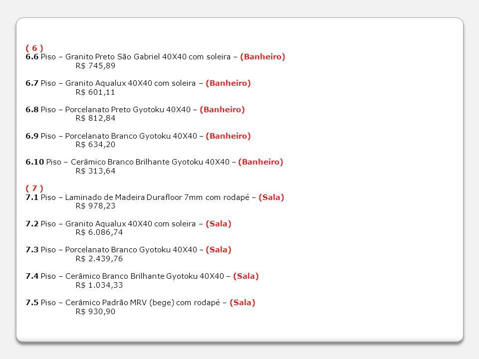 ( 6 ) 6.6 Piso – Granito Preto São Gabriel 40X40 com soleira – (Banheiro) R$ 745,89 6.7 Piso – Granito Aqualux 40X40 com soleira – (Banheiro) R$ 601,1