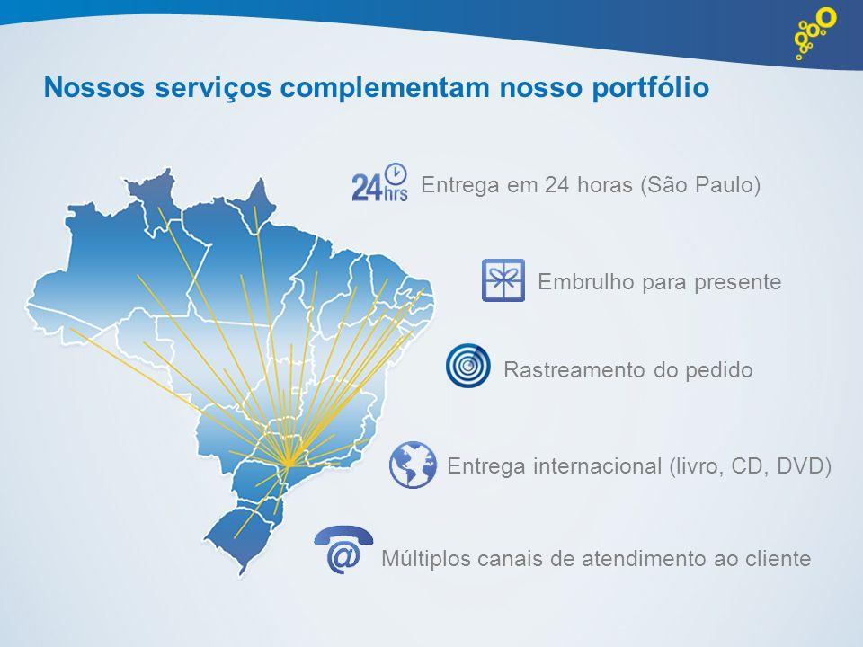 Nossos serviços complementam nosso portfólio Entrega em 24 horas (São Paulo) Embrulho para presente Entrega internacional (livro, CD, DVD) Múltiplos c
