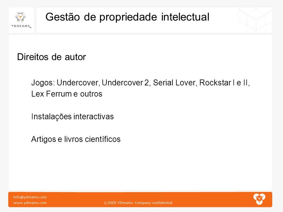 Gestão de propriedade intelectual Direitos de autor Jogos: Undercover, Undercover 2, Serial Lover, Rockstar I e II, Lex Ferrum e outros Instalações in