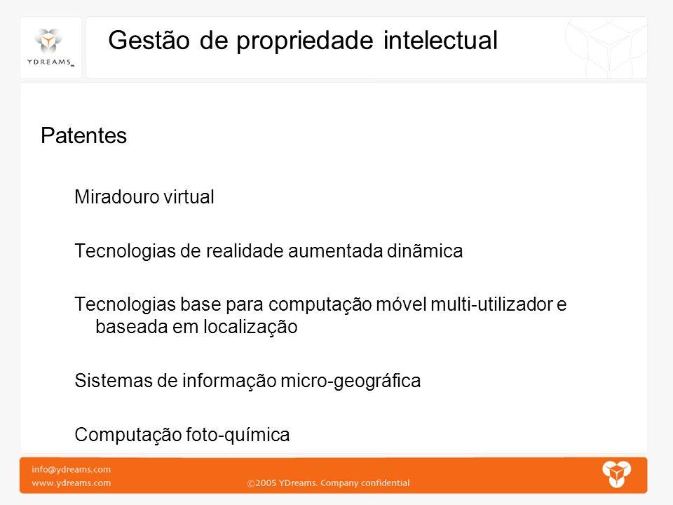 Gestão de propriedade intelectual Patentes Miradouro virtual Tecnologias de realidade aumentada dinãmica Tecnologias base para computação móvel multi-