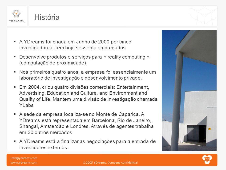 História A YDreams foi criada em Junho de 2000 por cinco investigadores. Tem hoje sessenta empregados Desenvolve produtos e serviços para « reality co