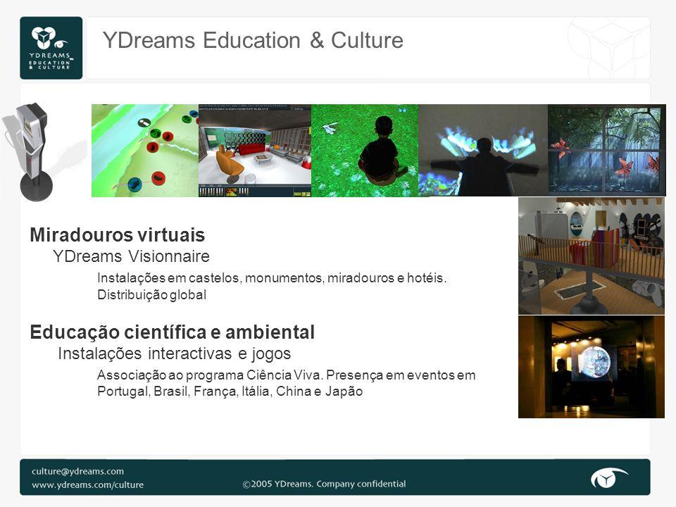 YDreams Education & Culture Miradouros virtuais YDreams Visionnaire Instalações em castelos, monumentos, miradouros e hotéis. Distribuição global Educ