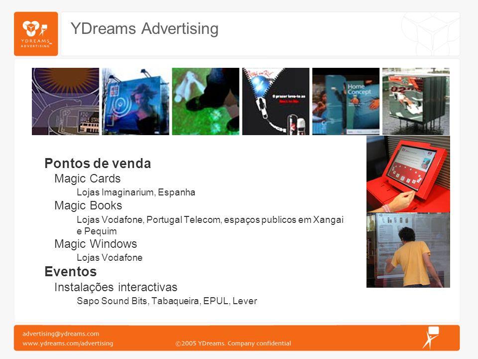 YDreams Advertising Pontos de venda Magic Cards Lojas Imaginarium, Espanha Magic Books Lojas Vodafone, Portugal Telecom, espaços publicos em Xangai e