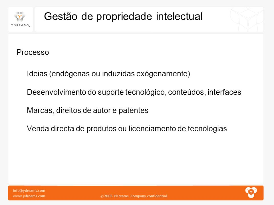 Gestão de propriedade intelectual Processo Ideias (endógenas ou induzidas exógenamente) Desenvolvimento do suporte tecnológico, conteúdos, interfaces