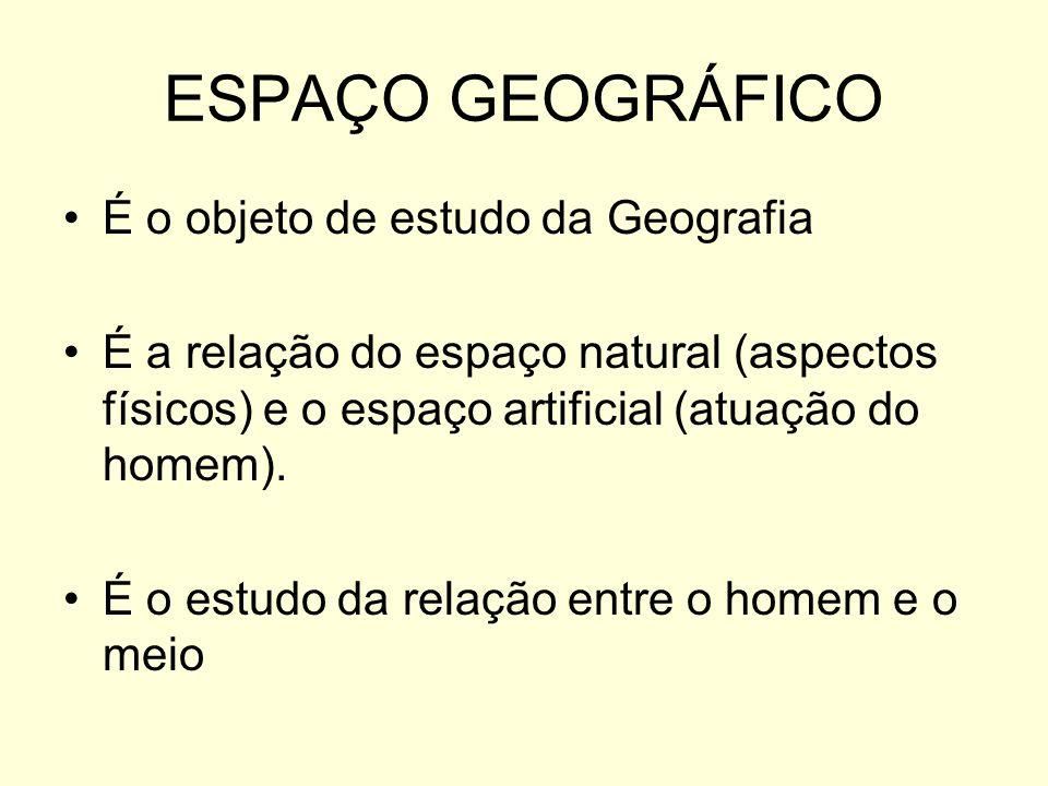 ESPAÇO GEOGRÁFICO É o objeto de estudo da Geografia É a relação do espaço natural (aspectos físicos) e o espaço artificial (atuação do homem). É o est