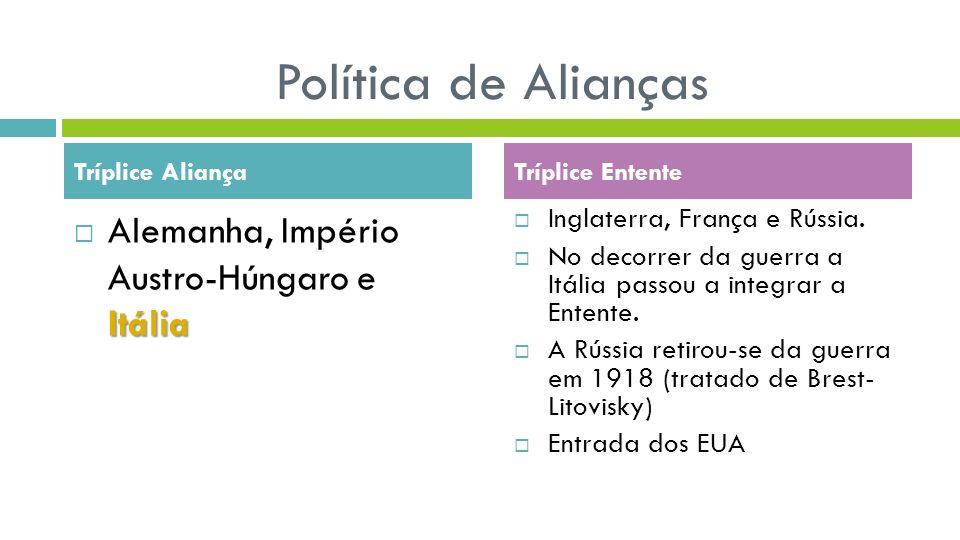 Política de Alianças Itália Alemanha, Império Austro-Húngaro e Itália Inglaterra, França e Rússia. No decorrer da guerra a Itália passou a integrar a