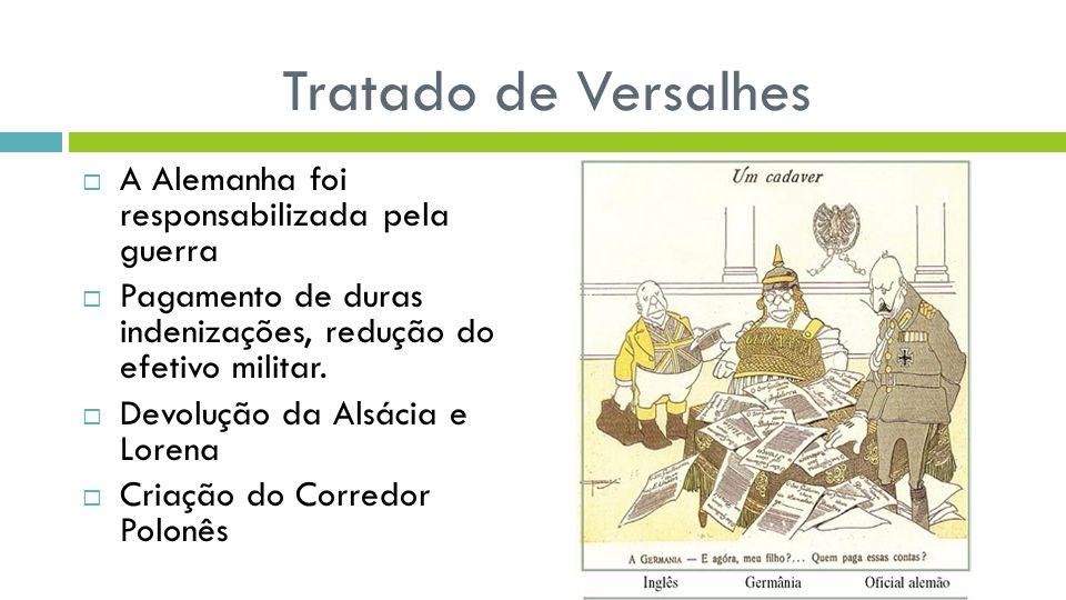 Tratado de Versalhes A Alemanha foi responsabilizada pela guerra Pagamento de duras indenizações, redução do efetivo militar. Devolução da Alsácia e L
