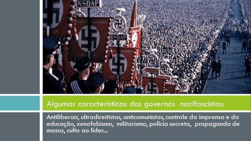 Antiliberais, ultradireitistas, anticomunistas, controle da imprensa e da educação, xenofobismo, militarismo, polícia secreta, propaganda de massa, culto ao líder...