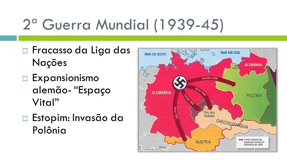 2ª Guerra Mundial (1939-45) Fracasso da Liga das Nações Expansionismo alemão- Espaço Vital Estopim: Invasão da Polônia
