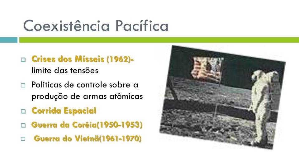 Coexistência Pacífica Crises dos Mísseis (1962)- Crises dos Mísseis (1962)- limite das tensões Politicas de controle sobre a produção de armas atômicas Corrida Espacial Corrida Espacial Guerra da Coréia(1950-1953) Guerra da Coréia(1950-1953) Guerra do Vietnã (1961-1970)