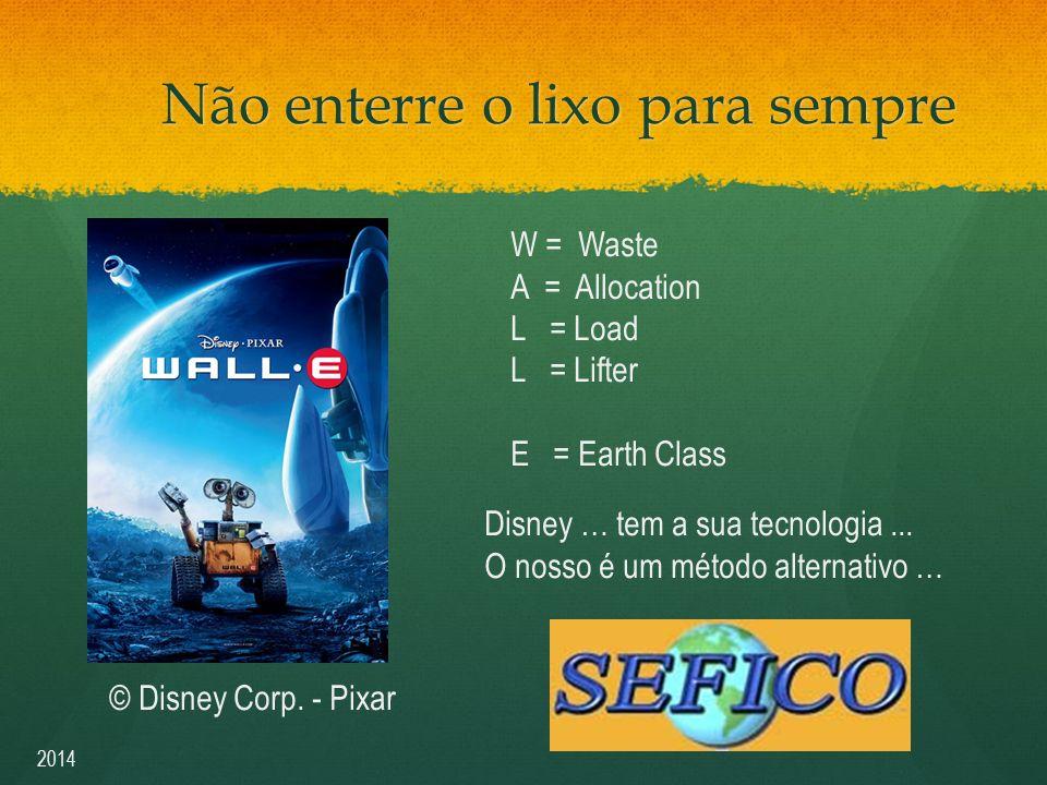 Não enterre o lixo para sempre W = Waste A = Allocation L = Load L = Lifter E = Earth Class Disney … tem a sua tecnologia...
