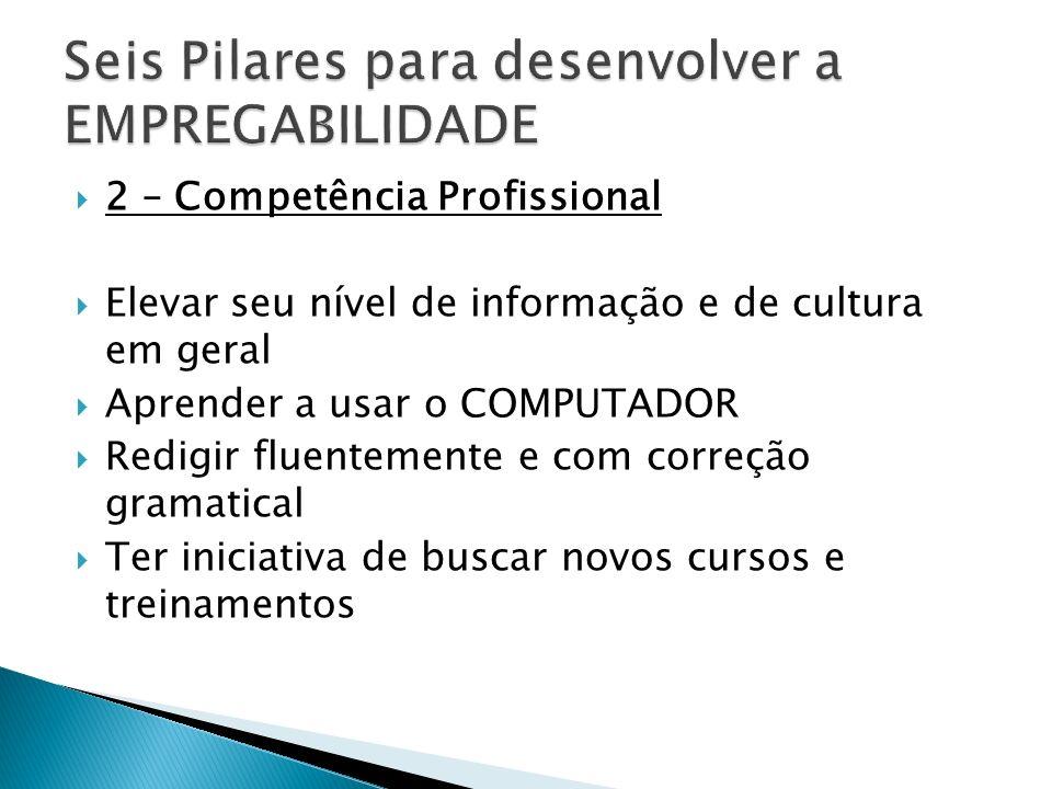 2 – Competência Profissional Elevar seu nível de informação e de cultura em geral Aprender a usar o COMPUTADOR Redigir fluentemente e com correção gra