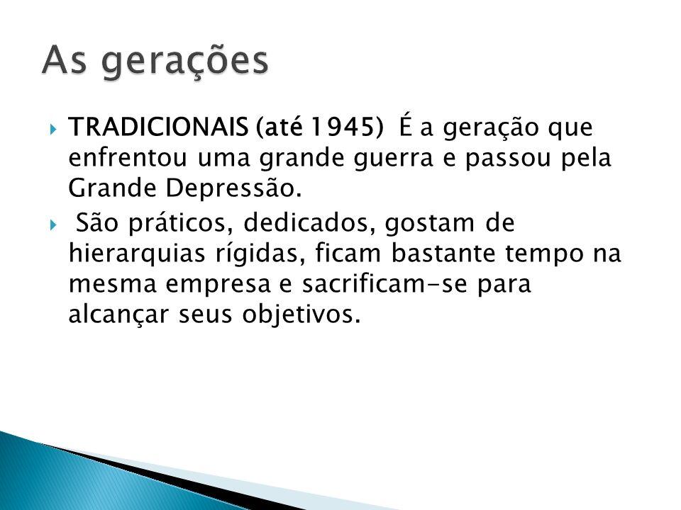 TRADICIONAIS (até 1945) É a geração que enfrentou uma grande guerra e passou pela Grande Depressão. São práticos, dedicados, gostam de hierarquias ríg