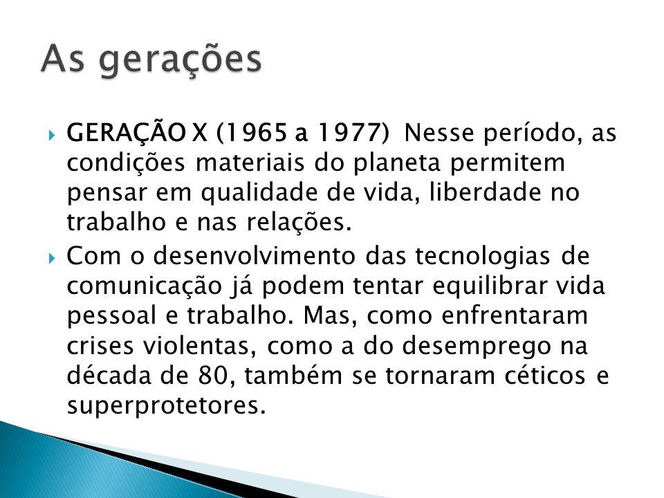GERAÇÃO X (1965 a 1977) Nesse período, as condições materiais do planeta permitem pensar em qualidade de vida, liberdade no trabalho e nas relações. C