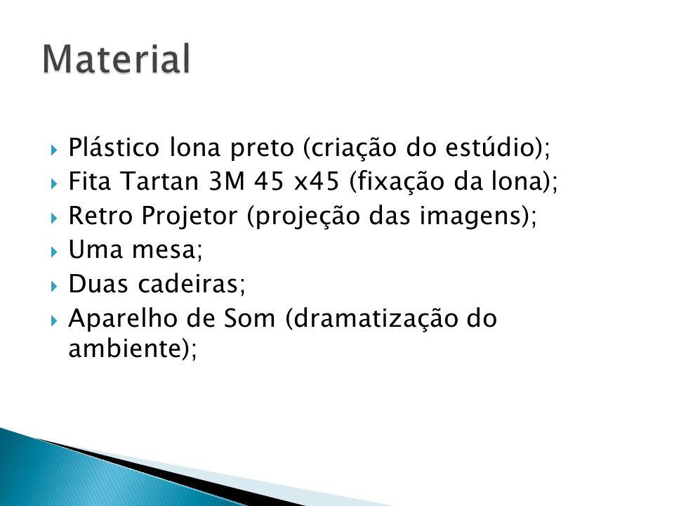 Plástico lona preto (criação do estúdio); Fita Tartan 3M 45 x45 (fixação da lona); Retro Projetor (projeção das imagens); Uma mesa; Duas cadeiras; Apa