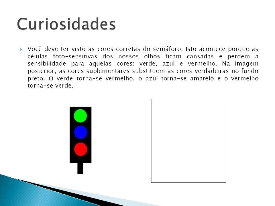 Você deve ter visto as cores corretas do semáforo. Isto acontece porque as células foto-sensitivas dos nossos olhos ficam cansadas e perdem a sensibil