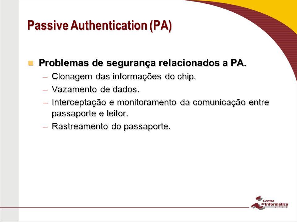 Problemas de segurança relacionados a PA. Problemas de segurança relacionados a PA. –Clonagem das informações do chip. –Vazamento de dados. –Intercept