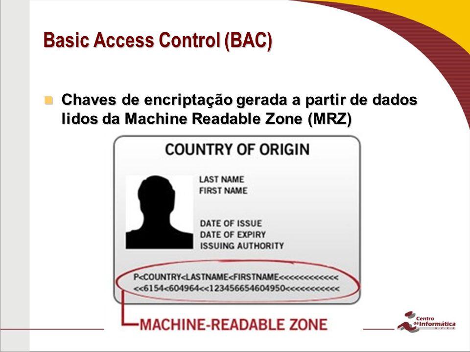 Basic Access Control (BAC) Chaves de encriptação gerada a partir de dados lidos da Machine Readable Zone (MRZ) Chaves de encriptação gerada a partir de dados lidos da Machine Readable Zone (MRZ)