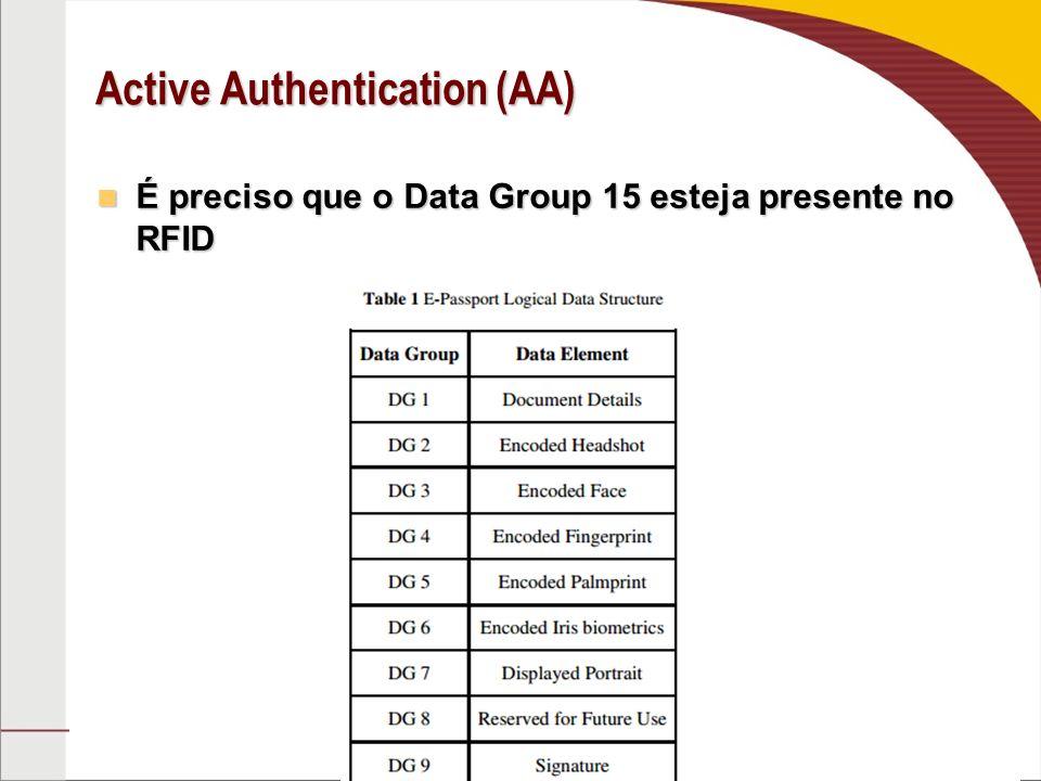 Active Authentication (AA) É preciso que o Data Group 15 esteja presente no RFID É preciso que o Data Group 15 esteja presente no RFID