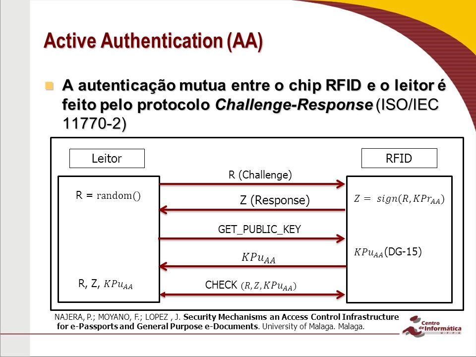 Active Authentication (AA) A autenticação mutua entre o chip RFID e o leitor é feito pelo protocolo Challenge-Response (ISO/IEC 11770-2) A autenticação mutua entre o chip RFID e o leitor é feito pelo protocolo Challenge-Response (ISO/IEC 11770-2) Leitor RFID R (Challenge) Z (Response) GET_PUBLIC_KEY NAJERA, P.; MOYANO, F.; LOPEZ, J.