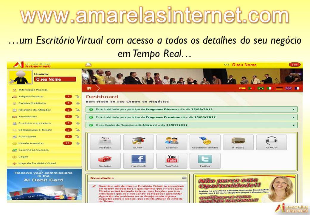 …um Escritório Virtual com acesso a todos os detalhes do seu negócio em Tempo Real… O seu Nome O seu Nome